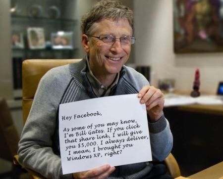 Čuli smo se sa Bil Gejtsom, i on je odlučio da, kao što piše na slici ispod, svakoj osobi koja podeli ovaj kviz na Facebook pokloni 5.000 dolara. A možda i ne?